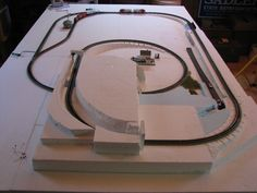N Scale First Getting started on Styrofoam.