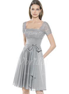 Abendkleider - $113.91 - A-Linie/Princess-Linie U-Ausschnitt Knielang Chiffon Charmeuse Abendkleid mit Rüschen Spitze (0175060200)