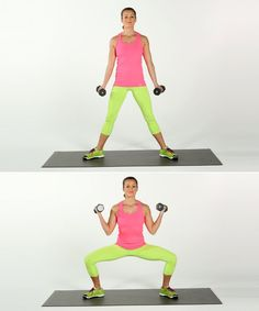 Work your middle arms and your lower body at the same time.   Hold a pair of dumbbells in your hands with y...