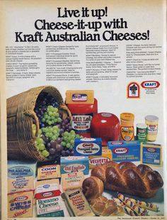 I like vintage stuff. Mostly from Much of the content here comes from the Australian Women's Weekly. Retro Ads, Vintage Advertisements, Vintage Ads, Vintage Food, Vintage Stuff, Cheese Whiz, Cream Cheese Spreads, Australian Food, Velveeta