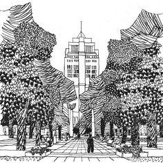 'The Square as Quadrangle: Municipal Square'. In the aftermath of WW2, with many of London's squares in disrepair, 'Squares for all tastes' was architect/urban designer Gordon Cullen's suggestions as to their reinvigoration. Illustration as published in 'The Concise Townscape' by Gordon Cullen