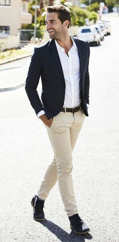 Spring men's fashion style. Classy business casual outfit for spring / summer. Featuring blazer, chinos, and a white dress shirt.