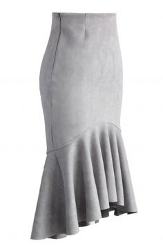 Sassy Suede Frill Hem Skirt in Grey - Retro, Indie and Unique Fashion