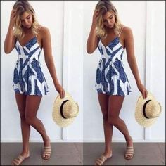 Sleeveless Summer Lace Up Jumpsuit Sexy Women Floral Printing Backless Club Wear  Deep V Neck Evening Party Playsuit Clothes e0447f11d519