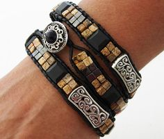 Yellowstone... Leather wrap bracelet.... Touch of by OceanBead