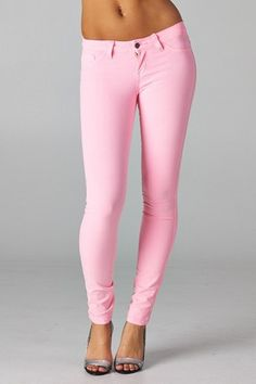 color skinny jean....love pink....
