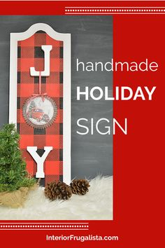 How to repurpose cabinet door panels into festive JOY Christmas Signs by Interior Frugalista and stenciled with rustic buffalo check plaid. Easy and affordable DIY Christmas decoration idea. #diychristmassign #homemadechristmas #festivechristmasideas Christmas Decor Diy Cheap, Homemade Christmas, Christmas Projects, Christmas Decorations, Holiday Decorating, Holiday Signs, Christmas Signs, Christmas Home, Upcycled Home Decor