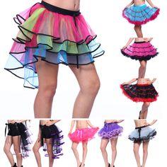 Rainbow Neon RaRa Rave Party Organza Dance Ruffle Tiered Tutu Skirt Clubwear b4b4fc393cc1