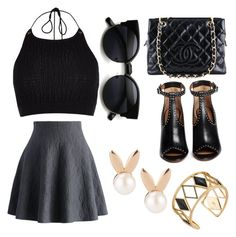 A fashion look from April 2016 featuring halter top, flared skirts and leather sandals. Browse and shop related looks. Rebecca Minkoff, River Island, Givenchy, Chanel, Polyvore, Image, Black, Style, Fashion