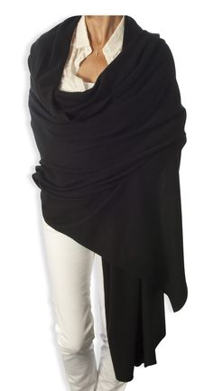 Oversized Cashmere Wrap in Classic Black...great over jeans for the weekend and evening wear too. www.catherinerobinsoncashmere.com