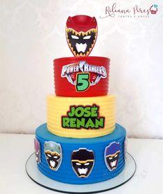 Bolo Power Rangers, Power Ranger Cake, Power Ranger Birthday, 4th Birthday Parties, 2nd Birthday, Cake Creations, Fondant, Cake Decorating, Desserts