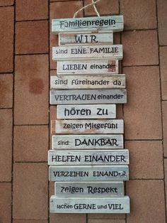 Holzschild Wanddeko Familienregeln