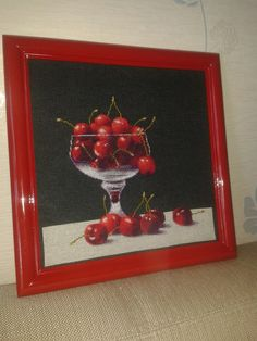 Cherries in a Glass Design by Kseniya Adonyeva Glass Design, Cherries, Black Fabric, Cross Stitching, Projects, Collection, Maraschino Cherries, Log Projects, Blue Prints