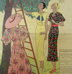 1936 1930s Fashion, Fashion Sewing, Vintage Fashion, Blue Garden, Sewing Patterns, Sewing Ideas, Cherry Tree, Vintage Love, Paper Dolls