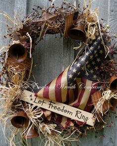 Patriotic Wreath Americana Wreath Fourth of by NewEnglandWreath