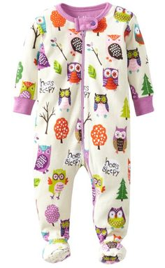 Hatley Baby Girls Newborn Footed Coverall Party Owls