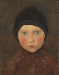 Marianne Stokes (1855-1927), Head of a Child, 1901, Oil on panel   The Maas Gallery