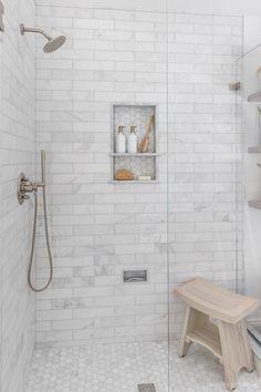 Master Bathroom Shower, Upstairs Bathrooms, Bathroom Renos, Gray Shower Tile, White Bathroom Tiles, Tub Tile, White Bathrooms, Master Bathrooms, Tile For Bathroom Floor