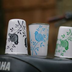 hand painted cups were made by Kashmiri crafts people through Nkuku