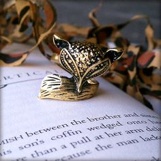"""Deco """"Foxy Mathilda Demure"""" Art Nouveau Style Fox Ring, Art Deco, Antique Bronze, Face Tucked into Tail, Bronze Bead Detailing, Statement by OddModicum, $7.95"""