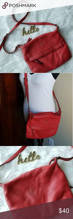 Kate spade Red Grant Park Crossbody Handbag Brand: Kate Spade Color: Red Material:  100% cowhide * stain on back of purse. See pictures some wear to interior. Used condition Kate Spade Bags Crossbody Bags