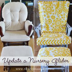 Update a Nursery Glider Rocking Chair by The DIY Mommy. gliders are so functional and so ugly. Now I can keep this in my living room without cringing! Rocking Chair Makeover, Rocking Chair Nursery, Rocking Chair Cushions, Diy Chair, Rocking Chairs, Rocking Chair Covers, Glider Cushions, Glider Chair, Recover Glider Rocker
