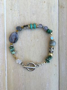 Mixed media beaded bracelet, natural stone, blue green with gold and silver details
