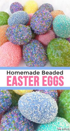 Homemade Beaded Easter Eggs - Homemade Beaded Easter Eggs – Take those plastic Easter Eggs to the next level with our embellish - Cool Easter Eggs, Making Easter Eggs, Plastic Easter Eggs, Easter Projects, Easter Crafts For Kids, Easter Ideas, Easter Stuff, Easter Dyi, Easter Food