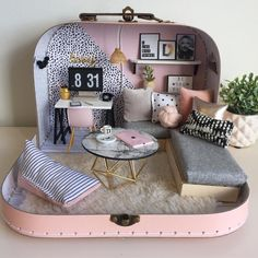 hen you're asked to make a travel doll house for a very stylish 13 year old who includes @lustliving in her mood board you just know it's Diy Dolls House Furniture, Diy Doll House, Dollhouse Furniture, Toy House, Diy For Kids, Crafts For Kids, Miniature Rooms, Miniature Houses, Doll House Miniatures