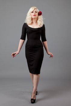 Glamour Bunny - 60s Joan Madmen Dress black