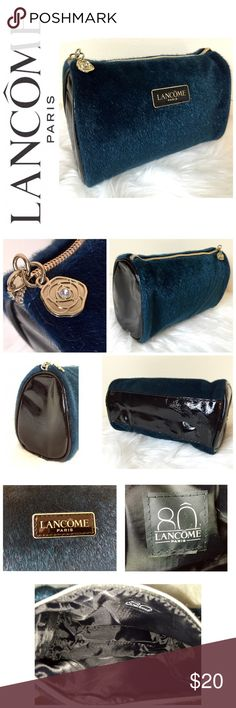 """NWOT Lancôme Paris Designer Cosmetic Bag Lancôme Paris Designer Cosmetic Bag, Faux Fur Style in Dark Teal with Gold Hardware, As well as Black Vinyl Material at both ends and Bottom, Zip Top Closure, Approx. Size is 7""""x 4 1/2"""" x 3"""", NWOT Lancome Bags Cosmetic Bags & Cases"""