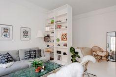 Studio apartment with bookcase room divider