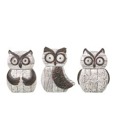 Take a look at this Small Rustic Owl Figurine Set by Transpac Imports on #zulily today!