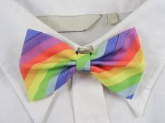 Rainbow Stripes Bow Tie by PixieBluebellDesigns on Etsy
