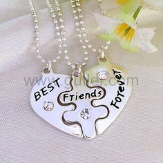 Engraved bff necklaces best friends forever set for 3 people personalized couples gifts Best Friend Bracelets, Best Friend Jewelry, Bff Bracelets, Personalized Couple Gifts, Personalized Jewelry, Bff Necklaces, Matching Necklaces, Engraved Wedding Rings, Birthday Gifts For Best Friend