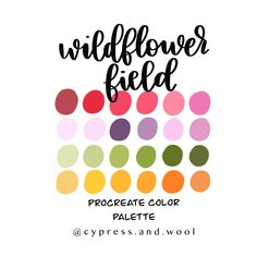 Colour Pallette, Color Palate, Colour Schemes, Color Combinations, Colour Board, Color Swatches, Color Theory, Color Inspiration, Wild Flowers