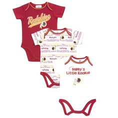 Washington Redskins Infant 3-Piece Bodysuit Creeper Set - Burgundy White 6a6f26411