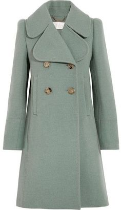 Double-breasted Wool-blend Felt Coat - Green.  Will look really good for the city dweller and young professional.