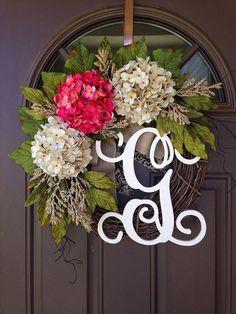 Summer Purple and Cream Hydrangea Wreath for Front Door - Shabby Chic Wreath - Rustic Wreath - Monogram Grapevine Wreath Front Door Monogram, Monogram Wreath, Diy Wreath, Grapevine Wreath, Burlap Wreath, Burlap Ribbon, Wreath Ideas, Letter Wreath, Hydrangea Wreath
