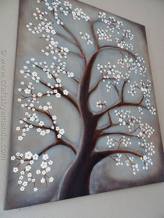 White Cherry Blossom Tree Painting - step by step acrylic - Picmia