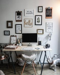 A dreamy Parisian workspace with gallery wall. Framed quotes aren't much your style? Are you looking for unique and beautiful art photo prints (not the featured in this pin) to curate your gallery walls? Visit bx3foto.etsy.com and follow us on Instagram @bx3foto