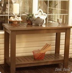 diy outdoor slatted console tablewe need to work on our outdoor decor