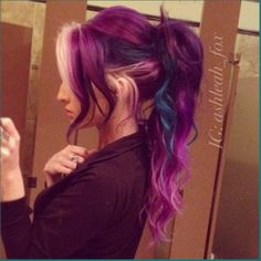 Purple ponytail dyed hair