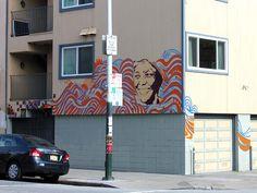 A new mural of Nobel Peace Prize winner Wangari Maathai at Haight and Pierce. Murals Street Art, Nobel Peace Prize, Public Art, Neon Signs, San Francisco