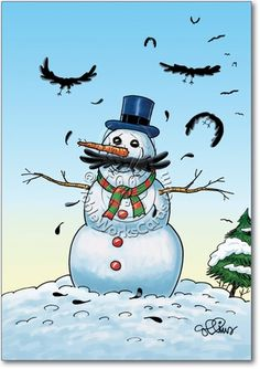 Snowman-Stache Humorous Picture Christmas Greeting Card Nobleworks