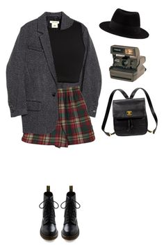 """got a secret"" by junk-food ❤ liked on Polyvore featuring H&M, River Island, Dr. Martens, Kate Spade and Polaroid"