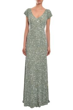 THEIA Dazzling Green Fully Sequins Cap Sleeve Evening Gown Dress 6 $1295 NEW #Theia #Formal