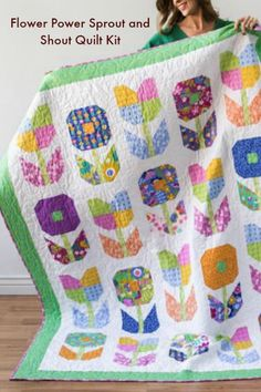 """Intermediate - Flower Power Sprout and Shout Quilt Kit - Bright & Cheery! - 63"""" x 83""""- #quilting #sewing #flowers #affiliate"""