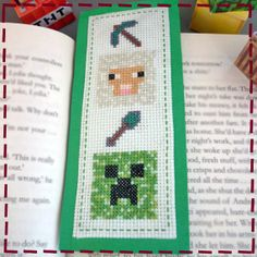 Cross Stitch Bookmarks, Crochet Bookmarks, Cross Stitch Cards, Cross Stitching, Cross Stitch Embroidery, Cross Stitch Patterns, Bookmark Craft, Minecraft Party, Projects To Try
