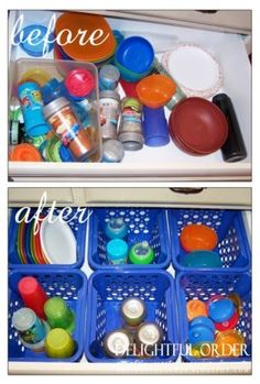 sippy cup organizer with plastic bins